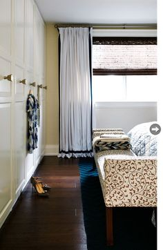 IKEA Pax Birkeland wardrobes were customized to fit flush from floor to ceiling almost the whole length of one wall in the master bedroom suite. I think would he better with different knobs Find Furniture, Home Furniture, Modern Family, Home And Family, Ikea Pax Doors, Ikea Wardrobe, Ikea Decor, Home Remodeling, Small Spaces