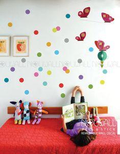 Kleurrijke Polka Dots muur sticker behang van NouWall op Etsy