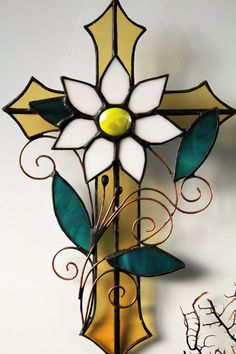 Yellow stained glass cross with a flower Baptism gift idea