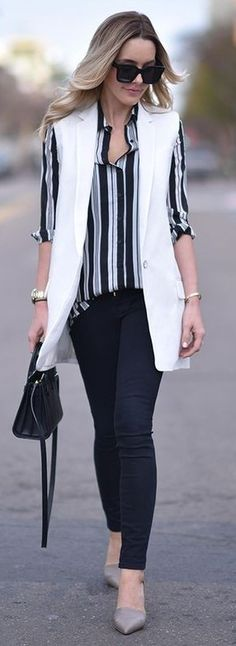 White Vest + Stripes + Black Denim | The Skinny Confidential