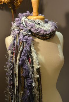 Fringie Maxx in Aubergene - Multi-texture hand tied scarf / photo prop in black, lavendar, purple, grey, tan, white on Etsy, $22.00
