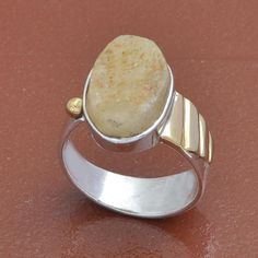 925 SOLID STERLING SILVER BEAUTIFUL ROUGH STONE RING 6.56g DJR3662 #Handmade #Ring