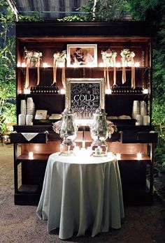 Brides.com: . A hot chocolate bar — complete with mini bottles of Bailey's — was the perfect way to keep guests warm.