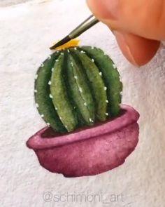Watercolor Flowers Tutorial, Watercolour Tutorials, Flower Tutorial, Watercolor Painting Techniques, Watercolor Paintings, Cactus Drawing, Fun Diy Crafts, Painted Flowers, Watercolor Cards