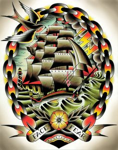 Fear II by Tyler Bredeweg Classic Tattoo Ship Art Design Giclee Print
