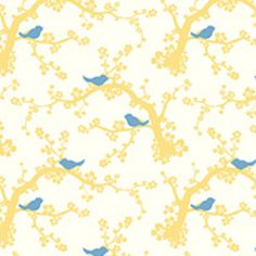 Feather your Nest ''Nesting birds in buttercup'' Quilting Treasures (Simon & Kabuki)