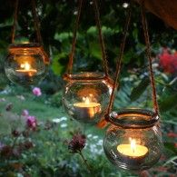 3 Hanging Glass Ball T-Light Lanterns