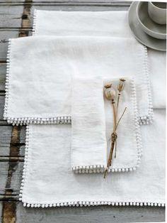 White Pom Pom Table Linen - Table Runner, each White Placemats, Linen Placemats, Table Runner And Placemats, Linen Tablecloth, Linen Napkins, Table Linens, Table Runners, Tablecloths, Grey Bowls