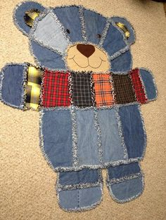 Terrific thing - check out our site for way more good ideas! Baby Sewing Projects, Quilting Projects, Quilting Designs, Baby Rag Quilts, Cotton Quilts, Teddy Bear Quilt Pattern, Teddy Bear Crafts, Denim Scraps, Rag Quilt Patterns