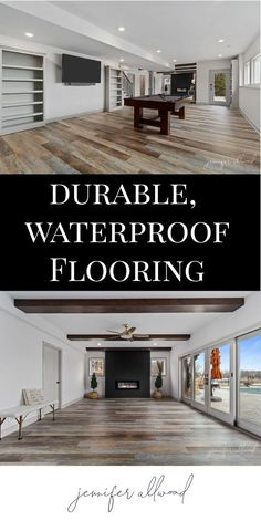 Durable + waterproof = two words you love when you have young kiddos running around at all times! Our vinyl flooring is perfect for our basement, which is where our kids and guests spend the majority of their time! Basement House, Basement Flooring, Basement Walls, Basement Waterproofing, Basement Bathroom, Flooring Ideas, Basement Renovations, Home Remodeling, Basement Ideas