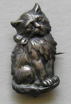 Victorian Cat Sterling Brooch Watch Pin