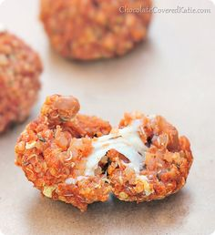 Melty Quinoa Pizza Bites: http://chocolatecoveredkatie.com/2014/01/27/quinoa-pizza-bites/