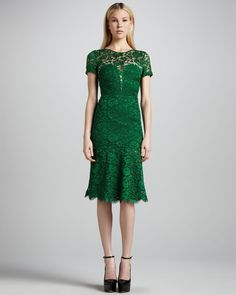 Burberry Prorsum Green Cutoutback Lace Dress- need this!