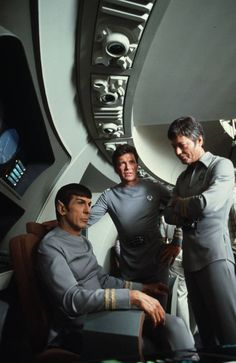 Leonard Nimoy, William Shatner and DeForest Kelley on the set. Star Trek The Motion Picture
