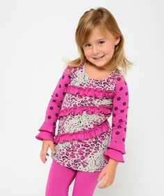 This Pink Leopard Ruffle Tunic - Toddler & Girls by Giovanna & Felice is perfect! #zulilyfinds