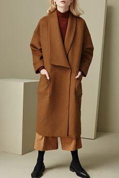 Oversized Caramel Wool Coat ///
