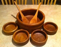 Kalmar Teak Bowls ~ 1 Lg Salad Serving Bowl w 4 Sm Wooden Bowls 2 Utensils ~