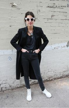 man repeller black outfit white shellys