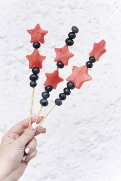 Watermelon + Blueberry Fourth of July Skewers