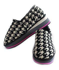 Look what I found on #zulily! Black & White Houndstooth Slip-On Sneaker #zulilyfinds