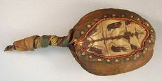 Estate Native American Indian Iroquois Hand Painted Turtle Dance Rattle
