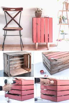 Obstkisten DIY so wird deine Holzkisten zum Deko-Hingucker! Old Wooden Boxes, Wooden Crates, Wooden Diy, Decoration Bedroom, Diy Home Decor, Furniture Makeover, Home Furniture, Furniture Ideas, Crate Furniture