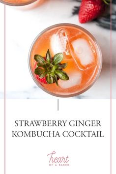 Are you looking for a quick and easy cocktail recipe? Click through to find out how to make this Strawberry Ginger Kombucha Cocktail! | Heart of a Baker #cocktail #cocktailrecipe #kombuchacocktail Easy Alcoholic Drinks, Easy Cocktails, Drinks Alcohol Recipes, Cocktail Recipes, Kombucha Cocktail, Healty Dinner, Food For A Crowd, Vegan Recipes, Strawberry