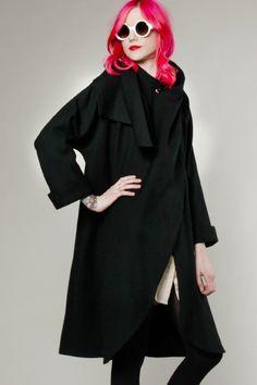 Vintage 80s Asymmetric Wool Coat #vintage #thriftedandmodern #coats