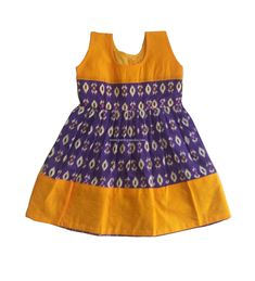 Items similar to Pattu Pavadai Baby Girls Ikkat Frock Violet and Yellow on Etsy Kids Party Wear Dresses, Kids Dress Wear, Kids Gown, Dresses Kids Girl, Baby Dresses, Kids Outfits, Baby Girl Dress Design, Girls Frock Design, Kids Frocks Design
