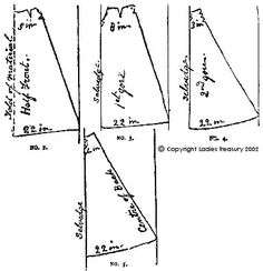 Cutting Layout, Free Pattern for 1895 Lady's Skirt