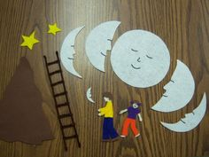 Papa Please Get the Moon for Me   props for retelling the story. Blogger made flannel props but if you follow the link, there is a free printable for printing paper props. #Eric Carle, #moon, #printable