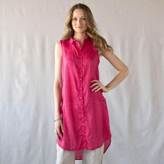 """C P SHADES BEAUSOLEIL LINEN SHIRTDRESS�--�CP Shades extends the classic sleeveless shirt to dress length for a cool and breezy way to beat the heat. Button front, shirttail hem. Linen. Machine wash. USA. Sizes XS (2), S (4 to 6), M (8 to 10), L (12 to 14), XL (16). 41""""L.View our entire CP Shades Collection"""