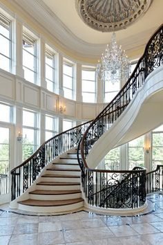 ARCHITECTURE – Staircase with carved faux stone dome...  ~ I so appreciate the Beautiful details of fine architecture!  D. K. Ogans  ~