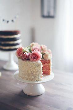 wedding cake in blush