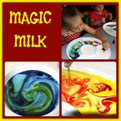 Four Little Piglets: MAGIC MILK. ah, a platter with compartments! except that I think I need cheaper food coloring before turning the kid loose with it. Sensory Activities, Craft Activities For Kids, Preschool Activities, Projects For Kids, Games For Kids, Sensory Play, Toddler Fun, Toddler Preschool, Crafts To Do