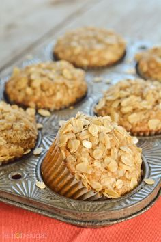Warm, spicy and hearty, these muffins are chock-full of oats, nuts and cinnamon. With a hint of maple, they make the perfect grab-and-go breakfast! Savory Muffins, Lemon Muffins, Oatmeal Muffins, Breakfast Muffins, Breakfast Time, Muffin Recipes, Baking Recipes, Dessert Recipes, Brunch Recipes