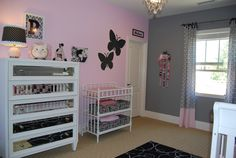 Pink and grey baby room.. emmas room.. think this is my fav for paint and balance between glam modern & realistic.