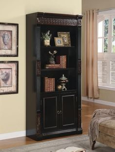 Coaster Furniture 800923 Nicolas Traditional Slim Bookcase w/ Carvings & Enclosed Storage Cabinet in Black Slim Bookcase, Small Bookcase, Large Shelves, Black Bookcase, Modern Bookcase, Bookshelves, White Bathroom Furniture, Home Office Furniture, Outdoor Furniture