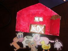 Farm craft envelope paper towel with farm animals inside (sing along to old McDonald)