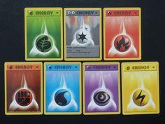 Pokemon 1st Edition Limited base set SHADOWLESS 7 ENERGY type cards
