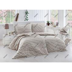 Povlečení RAVENA, hnědobéžové vlny, bavlna hladká (více rozměrů) | TextilCentrum.cz