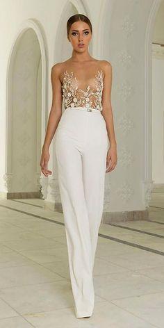 wedding pantsuit via abed mahfouz / http://www.deerpearlflowers.com/wedding-pantsuits-and-jumpsuits-for-brides/