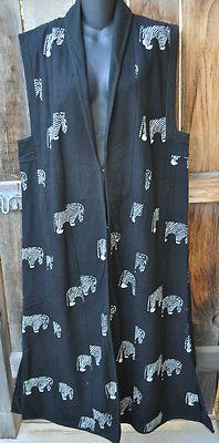 Handmade Art to Wear Lined Woven Long Cotton Black White Zebra Vest 45B SM Med | eBay