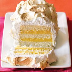 "Lemon Meringue Cake - from Sunset ""Our butter cake meets classic lemon meringue pie. We used a loaf pan to change the shape of the cake—a simple twist that dramatically alters the presentation."""