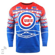 eae80c819 Forever Collectibles Men s Chicago Cubs Bluetooth Ugly Sweater - Blue S