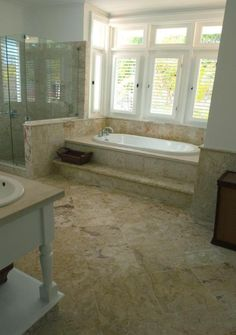 coral stone master bathroom make a step ledge for our whirlpool tub - Steps To Remodeling A Bathroom