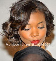 Atractivo africano americano de la celebridad de fiesta corto peinado 100% rizado del pelo humano peluca del cordón cerca de 10 pulgadas( envío gratis)
