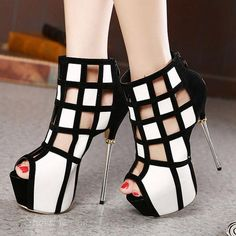 Shoespie Cut-outs Zipper Peep-toe Heels From the Plus Size Fashion Community at www.VintageandCurvy.com