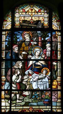 Birth of Jesus / Geboorte van Jezus -- by Atelier Frans Nicolas en Zonen -- in H. Johannes de Doper, Mechelen