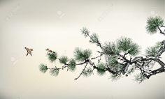 Japanese Painting Stock Illustrations, Cliparts And Royalty . Japanese Ink Painting, Chinese Painting, Chinese Art, Japanese Art, Pine Tree Painting, Pine Tree Art, Kiefer Tattoo, Japanese Flower Tattoo, Pine Tree Tattoo